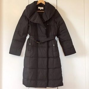 Warm Duck Down puffer belted maxi coat
